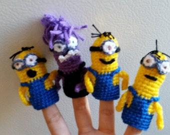 Crochet Minions finger puppets
