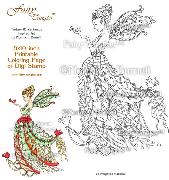 Yule time christmas fairy and birds printable coloring book for Christmas fairy coloring pages
