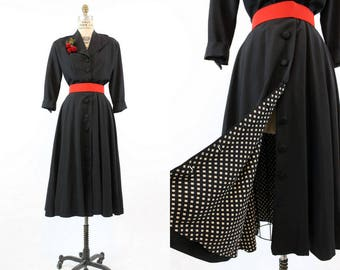 40s Dress Medium Full Skirt / 1940 Vintage Dress Rayon Faille Coatdress / Cherries Jubilee Dress