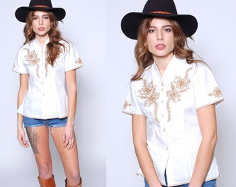Vintage 70s PEASANT Blouse EMBROIDERED Boho Button Down Short Sleeve COTTON Hippie Top