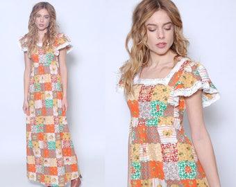Vintage 70s PATCHWORK Maxi Dress Hippie Dress LACE Trim Dress Boho Dress