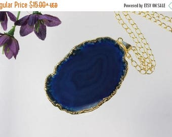 ON SALE Blue Agate Pendant, Agate Necklace,Crystal Agate Slice, Agate Slice, Gold Plated Agate, APS205