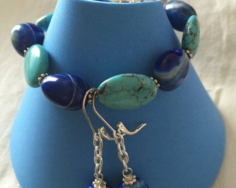 Puffed Turquoise and Blue Agate Bracelet and matching Earrings