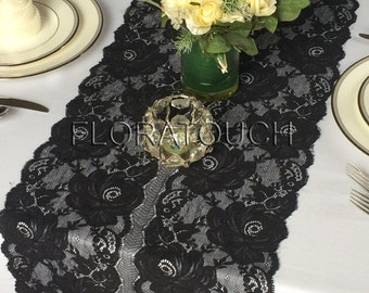 Black Lace With Scalloped Edge Wedding Table Runner