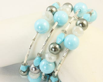 NEW 4 Loop Memory Wire Bracelet Blue Glass Rounds, Gray Glass Pearls, White Faceted Crystal Rondelles, Silver Plated Twisted Tubes