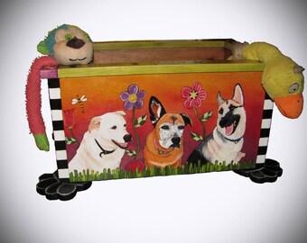 """PET PORTRAIT TOY box - toy box - pet storage - pet toy box  - Custom - dog toys - 24""""w x 17""""d  x 12""""h - unique pet gifts - pet toy box"""