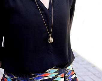 Quartz Crystal Ball Necklace-Gold Plated Silver