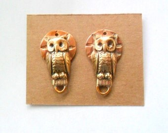 Artisan Copper and Brass Owl Findings Pair