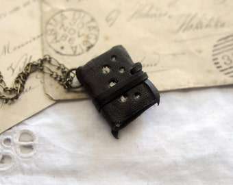 Lace for Days - Miniature Wearable Book, Black Recycled Leather, Deep Green Pages - OOAK