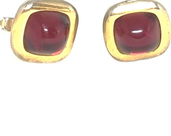 Anson Vintage Cufflinks Gold tone Red Stone Cuff Links