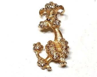 Vintage Avon Poodle Dog Pin Gold Tone Brooch