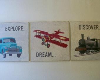 Set of Three Signs, Graduation Gift, Truck Airplane Train, Only One Set Ready to Ship, Vintage Transportation, Explore Dream Discover, 16x16