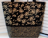 BLACK & GOLD TOTE Bag Purse Ladies' Handbag Cotton Floral/Windowpane Asian Print Fabric Medium