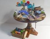 dollhouse Witch miniatures dragon table set ooak wizard dragon eggs