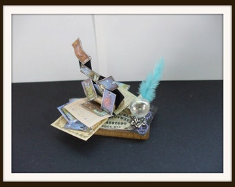 dollhouse miniature Gothic Witch Spell tray Exploding cards ooak Glows in Dark Can be custom made too