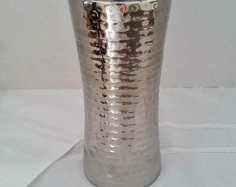 Vintage 3-Piece Hammered Chrome Cocktail Shaker