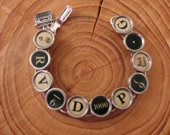 Typewriter Key Jewelry - Authentic Black and Buttery Yellow Classic 11-Key Typewriter Key Bracelet - Repurposed Typewriter Key Bracelet