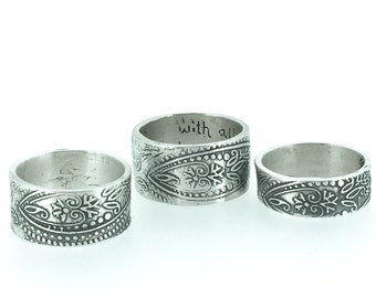 paisley sterling silver band . bohemian paisley wedding ring band . engraved message ring .  rustic wedding by peacesofidigo . made to order