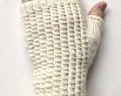 Gloves for Women, Teen Girls, Fingerless Gloves, Texting Gloves, off white gloves, hand knit gloves, baby alpaca merino wool blend, ecru