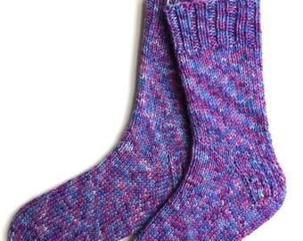 Socks for Women and Girls, Hand Knit Socks, Wool Socks, knitted socks, worsted weight socks, blue raspberry lilac socks, OOAK, heavy socks