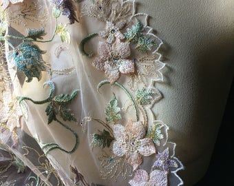 Blush 3D Lace Fabric Appliqued, Beaded and Embroidered for Ballet, Couture Gowns, Costume Design