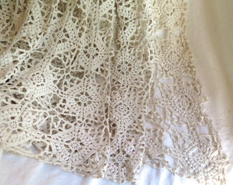 """French Crocheted Bedspread/Coverlet/Curtain Hand Crochet in White Cotton 105"""" x 86"""""""