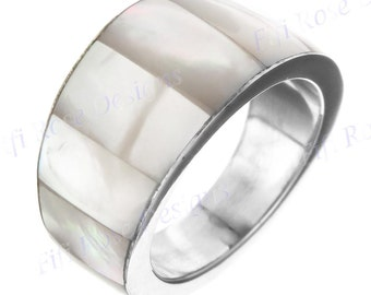White Mother Of Pearl Shell 925 Sterling Silver Band Us 8 Ring