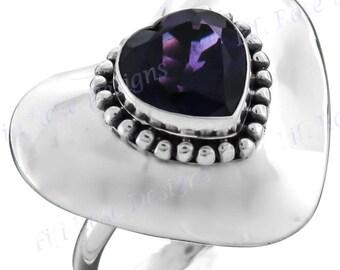 Heart Amethyst Gemstone 925 Sterling Silver Sz 8 Ring