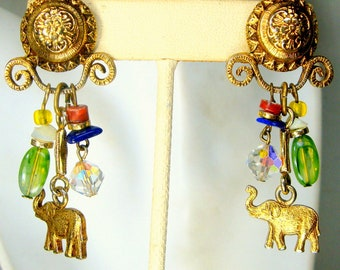 Elephant Charm Dangle Earrings, Gold Post Top with Beaded Fringe, 1980s