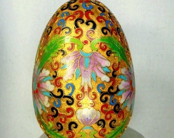 Vintage Chinese Cloisonne Giant EGG, Flowers and Squiggles, 1980s, Gold with Pink Green Red Blue Black Enamels, AS IS, Asian Collectible