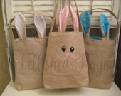Bunny Ears Burlap Easter Bag, Bunny Face Easter Basket, Child's Personalized Easter Basket, Adult Personalized Easter Basket