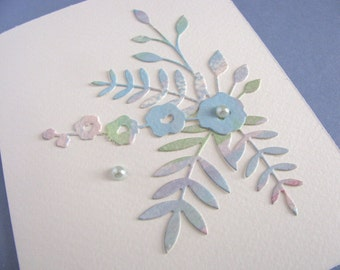 SALE Watercolored Floral on Creamy Ivory Card / Blue Shades, Touch of Purple / Pearl Accents / Can Be Horizontal or Vertical / Ready to Ship