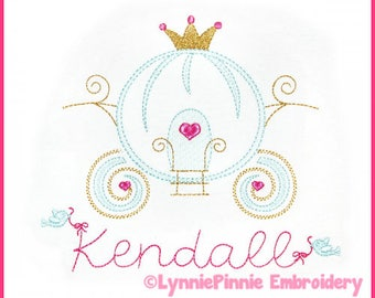 Pretty PRINCESS CARRIAGE Colorwork Sketch Embroidery Design 4x4 5x7 6x10 Machine Embroidery Design