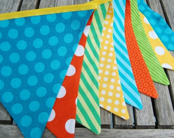 Construction Party Banner Decoration, Birthday or Baby Shower Bunting -- Teal, Aqua Blue, Lime Green, Orange, Yellow, Turquoise Fabric Flags