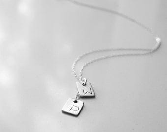 Minimalist Square Tag Initial Necklace - Two Tags Personalized with Initials