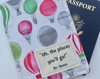 "Passport Cover, ""Oh, the Places You'll Go"" Dr. Seuss,  Passport Case, Passport Wallet, Travel Accessory with Pink Hot Air Balloons"