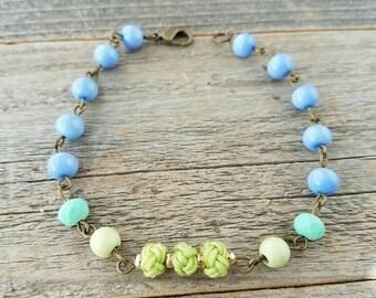 Spring jewelry, spring bracelet, periwinkle jewelry, periwinkle bracelet, green jewelry, green bracelet, handmade, mothers day jewelry, love