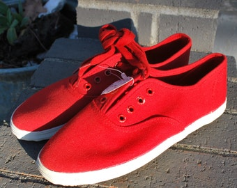 Vintage Red Canvas Shoes Lace up Sneakers New Old Stock