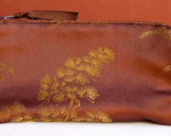 Brown and Gold Brocade Ditty Bag