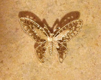 Goldtone Butterfly Brooch by Sarah Coventry