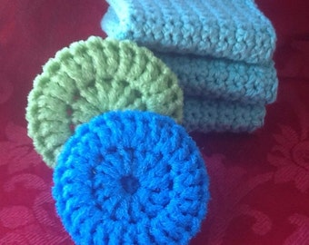 Set of 3 Crocheted dish cloths with 2 scrubbys