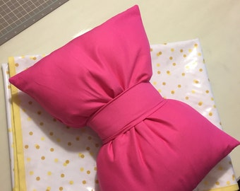 Hot Pink Bow Throw Pillow with Pillow Insert