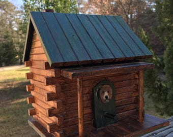 Vintage Handmade Log Cabin--Summer Camp Project--Bear At The Front Door--Green Roof--Dovetail Corners--Rustic Man Cave--Signed by Glenda