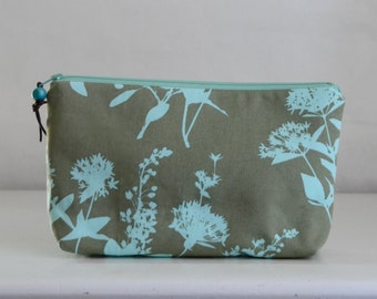 Sage Wildflowers Wide Padded Zipper Pouch Gadget Case Cosmetics Bag - READY TO SHIP