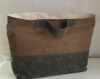 Brush Brown and Olive Waxed Canvas Big Carryall Tote Bag - Ready to Ship