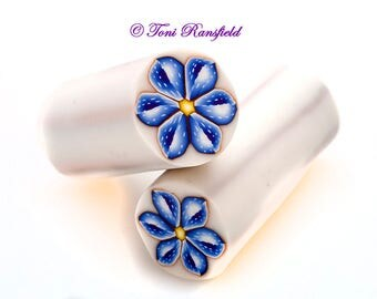 Blue Spotted Polymer Clay Flower Cane, Raw polymer Clay Cane, Millefiori Polymer Clay