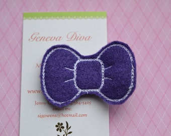 Purple with White Hello Kitty Bow Embroidered Felt Hairclip