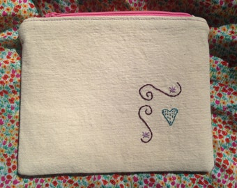 Embroidered Zip Pouch