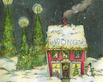 Original 5x7 Watercolor Painting and Ink Drawing -- Snowed in on Christmas