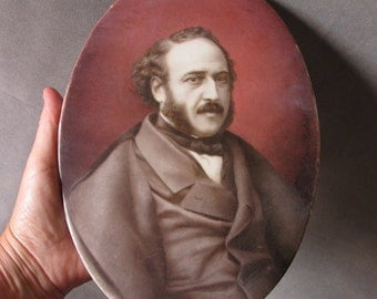 Fine c1868 Hand Painted Plaque French Prime Minister Jules Simon, Limoges